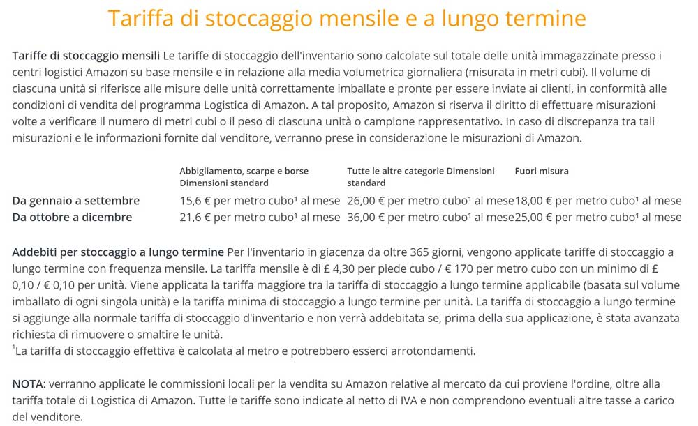 tariffe stoccaggio amazon fba